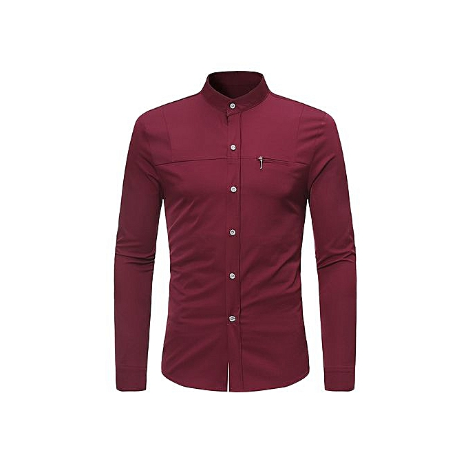 AFankara Mandarin Collar Faux Chest Pocket Shirt - rouge à prix pas cher