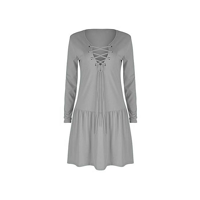 mode femmes été Robe mode Half Sleeve Loose Robe 2018 femmes Robe-gris à prix pas cher