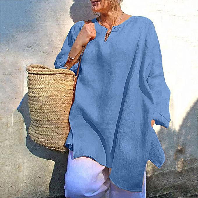Fashion Meibaol store Plus Taille femmes Casual Baggy Long Sleeve T Shirt Summer Linen Beach Tunic Blouse à prix pas cher