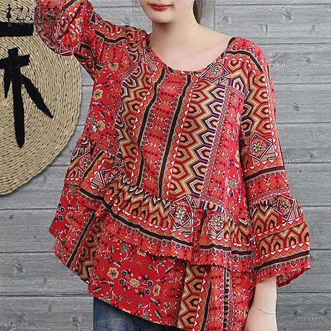 Zanzea ZANZEA femmes OverTaille Floral Round Neck Shirt Patchwork chemisier Tee hauts à prix pas cher