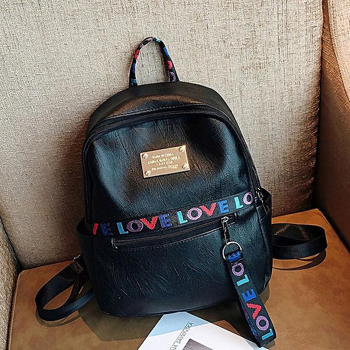 Fashion Tcetoctre femmes Letter Print Backpack Travel School Bag Double Shoulder Bag Zipper Bag-noir à prix pas cher
