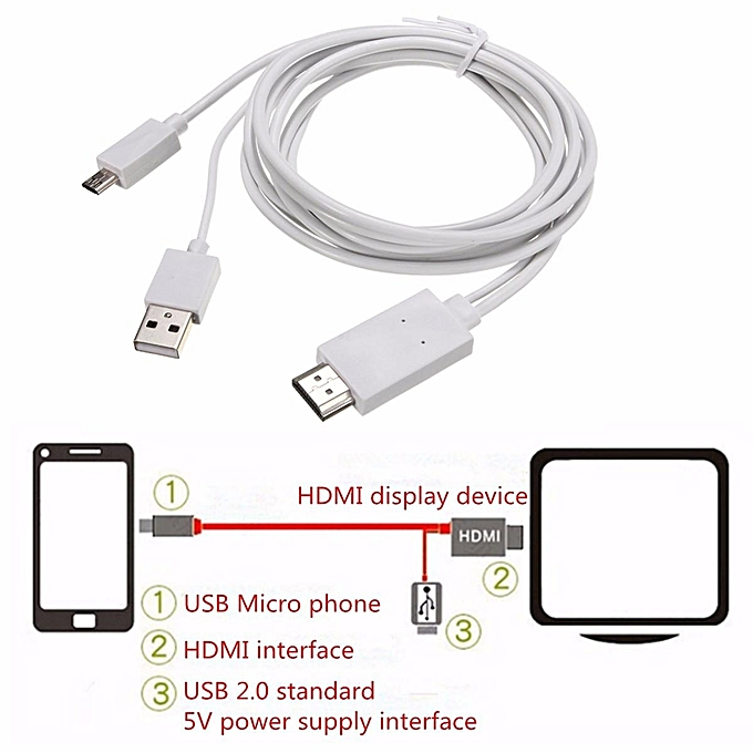 UNIVERSAL 2M MHL to HDMI HD TV Adapter Cable for Samsung Galaxy Tab 3 10.1 8.0-Inch Tablet à prix pas cher