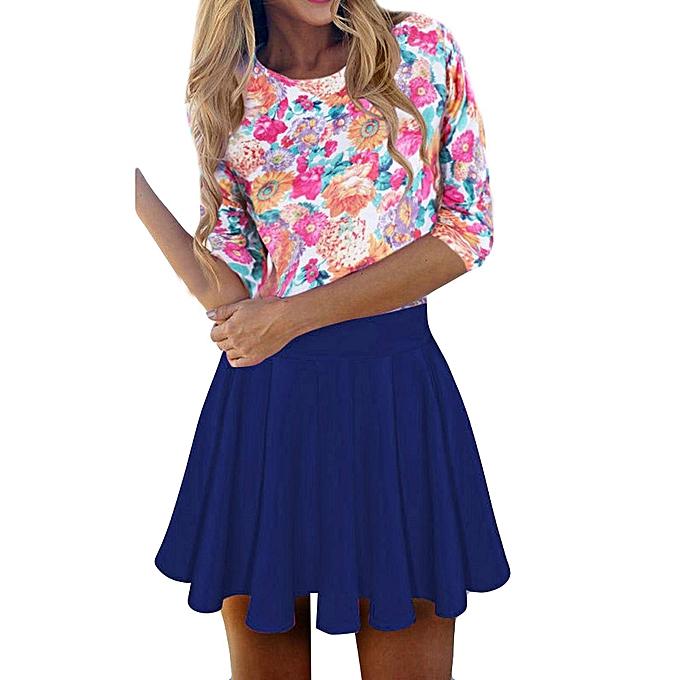 Generic Fovibery femmes Flower Half Sleeve Evening Party Mini Dress Fashion Dress à prix pas cher