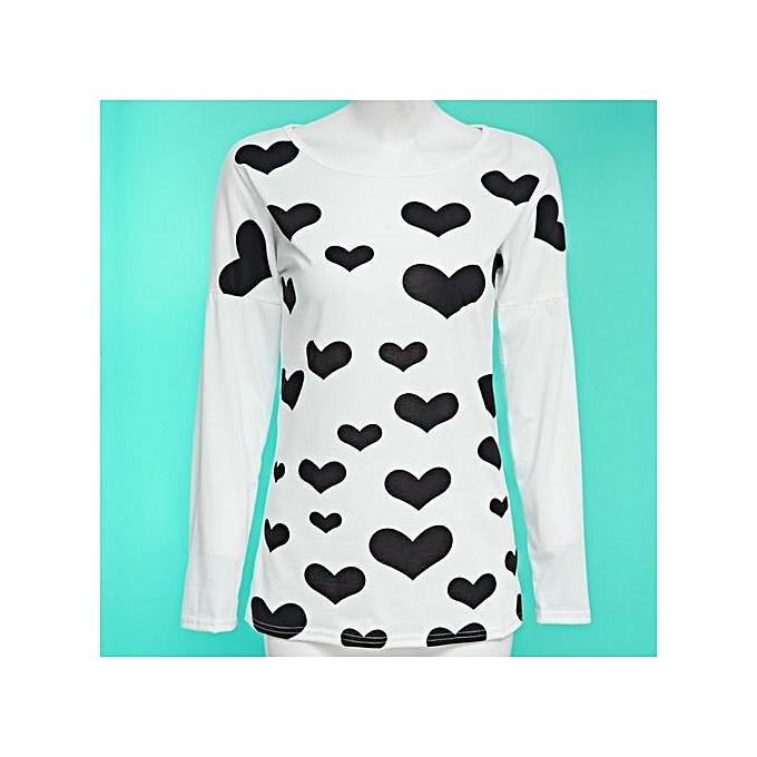 Generic HL mode Scoop Collar manche longue Heart Print Zipperouge T Shirt For Ladies(S-XL) (blanc) à prix pas cher