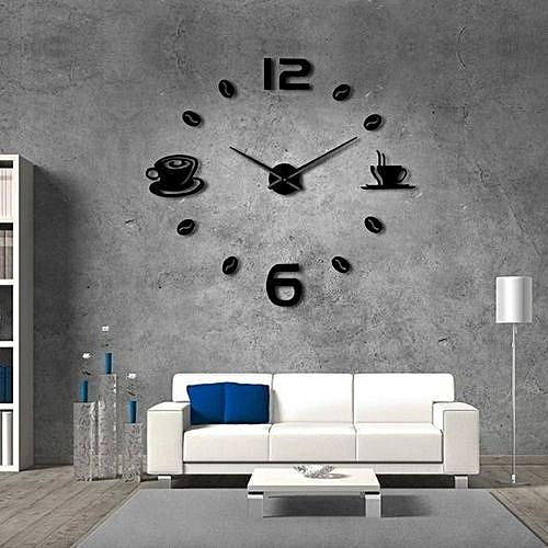Générique Horloge Murale Design 3d Design Coffee Pour Salon Noir