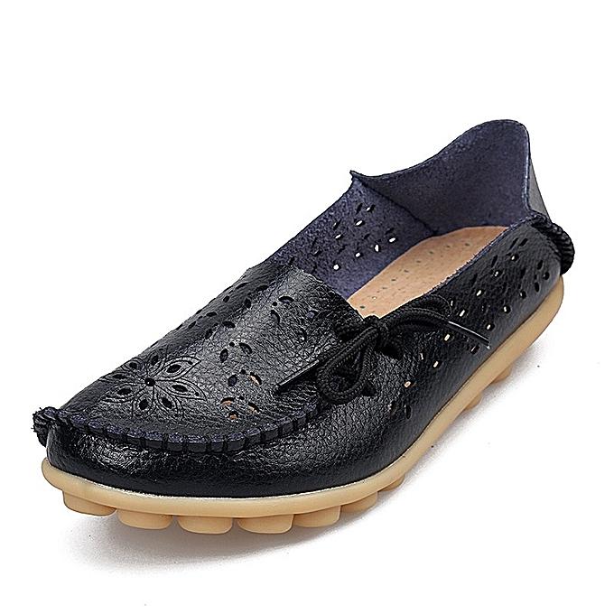 Other Stylish  Summer femmes Middle Aged femmes Leather Mother chaussures Flat Sole Sandal -noir à prix pas cher    Jumia Maroc