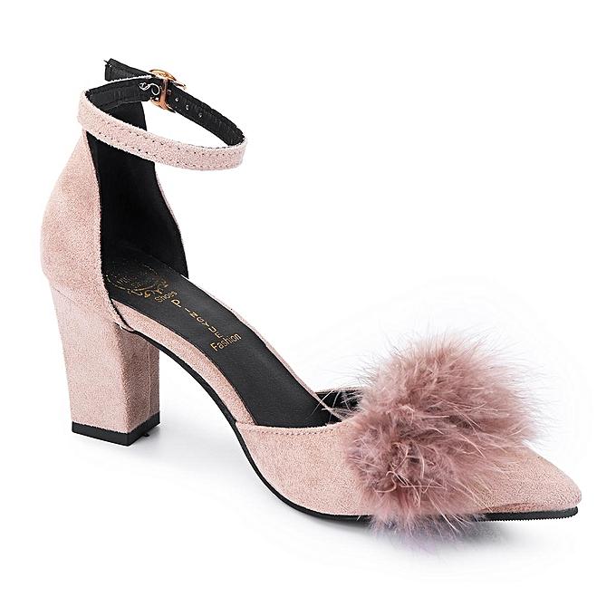 Fashion WoHommes  Flurry Fur Block High Heel Suede Pointy Toe Ankle Strap Sandals Suede Heel Leather-EU à prix pas cher    Jumia Maroc 9e563a
