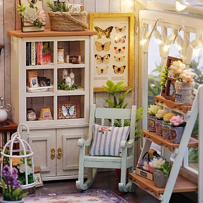 OEM CuteRoom A-063-C Sunshine verthouse FFaibleer Shop DIY Dollhouse With Music Cover lumière Miniature Gift à prix pas cher