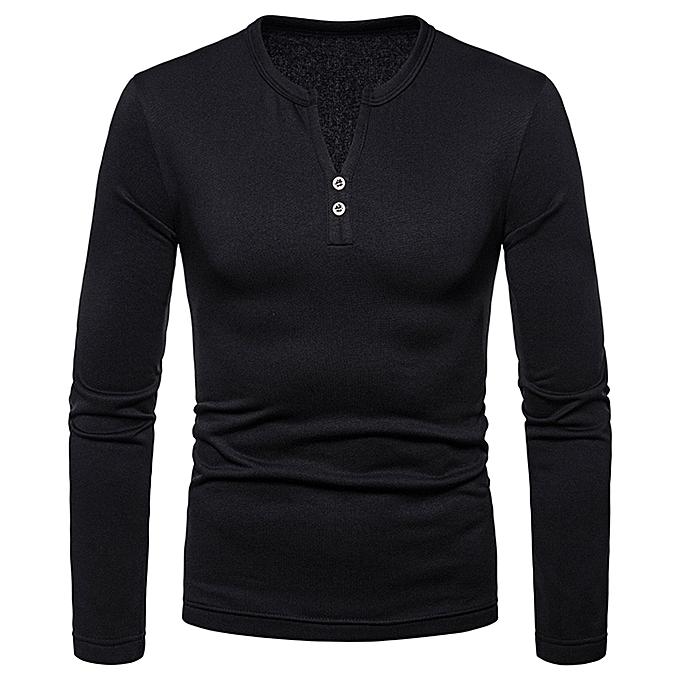 mode Hommes& 039;s Autumn Winter Décontracté Splicing Henry Button manche longue Shirt Top chemisier -noir à prix pas cher
