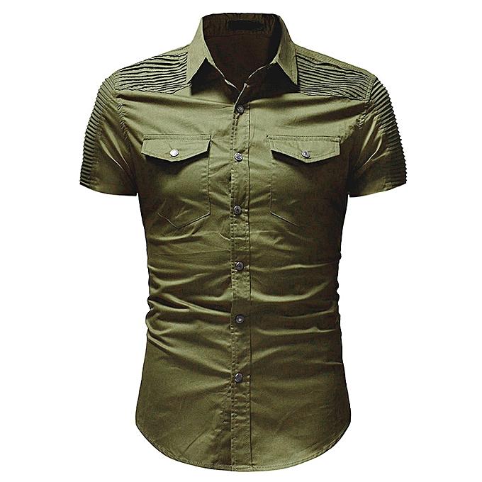 Fashion Men's Casual Slim Fit Button Shirt With Pocket Short Sleeve Tops Blouse AG 3XL à prix pas cher