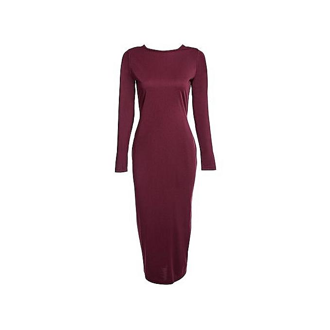 Fashion Simple Round Collar Long SLeeve Zipper Design Skinny Midi Dress For femmes_WINE rouge à prix pas cher