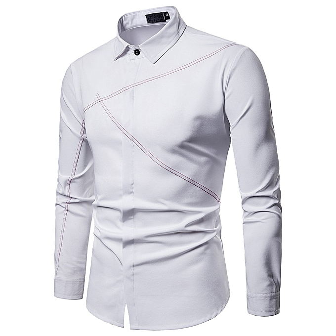 Fashion Men's Spring Casual Slim Fit Shirts Long Sleeve Button Shirt Top  Blouse à prix pas cher