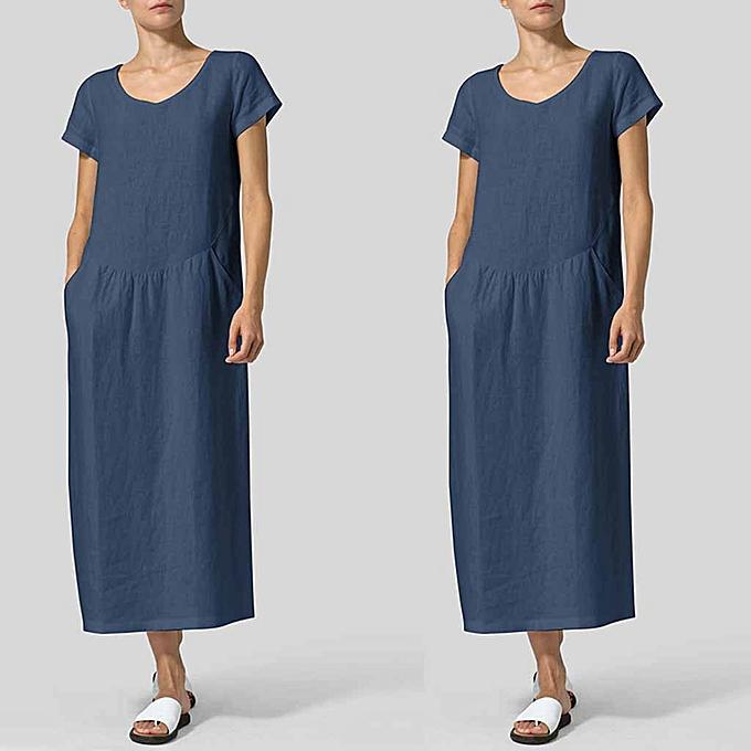 Fashion Summer Wohommes Fashion Pure Colour Round Neck Simple Long Dresses à prix pas cher