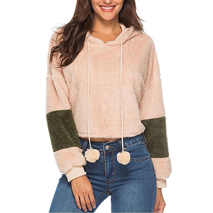 Fashion meibaol store femmes Casual Long Sleeve Patchwork Hoodie Warm Sweatshirt Drawstring Top Blouse à prix pas cher