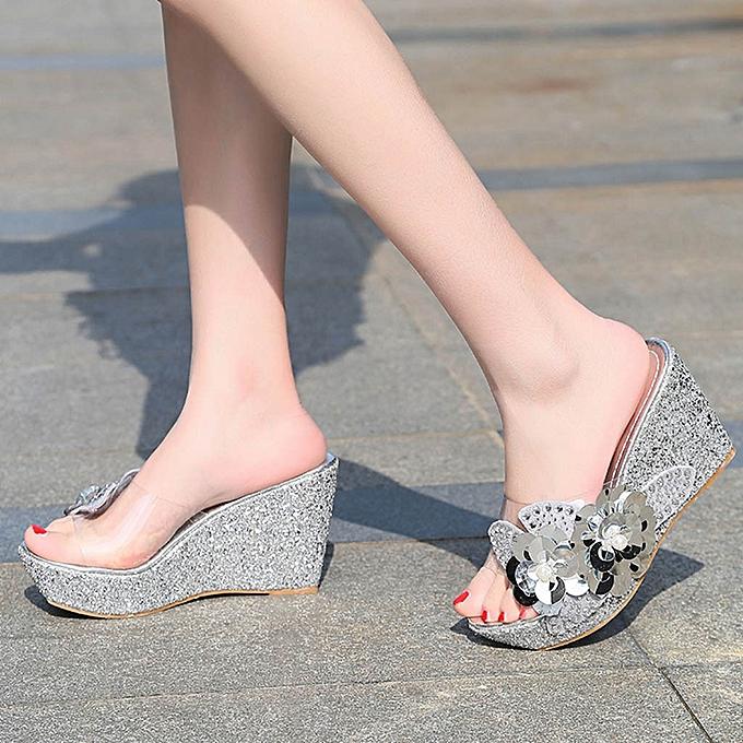 Fashion jiahsyc store Fashion femmes Summer Rhinestone sequins Sandals Rohomme Wedges Casual Beach chaussures à prix pas cher