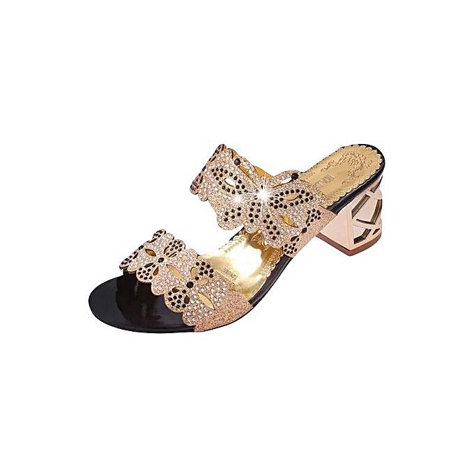 Fashion Jiahsyc Store femmes Rhinestone Slippers femmes Fashion Open Toe chaussures Bohemia High Heel chaussures-or à prix pas cher
