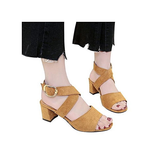 Fashion Jiahsyc Store femmes Fish Mouth High Heels Wedge Thick With Sandals Buckle Slope Sandals-marron à prix pas cher
