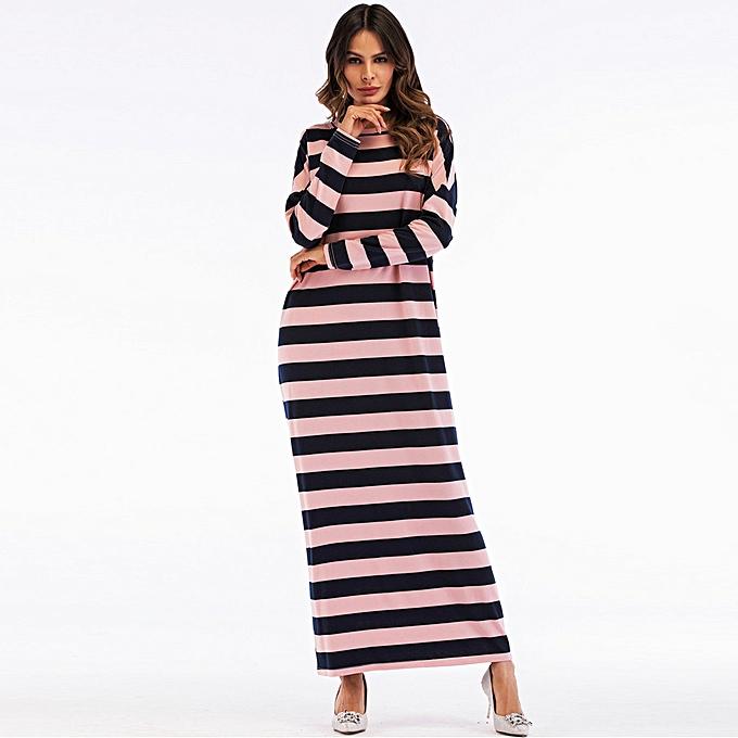 Fashion Hiamok femmes Muslim Striped Loose Long Sleeve Arab Dress Islam Jilbab Dress à prix pas cher