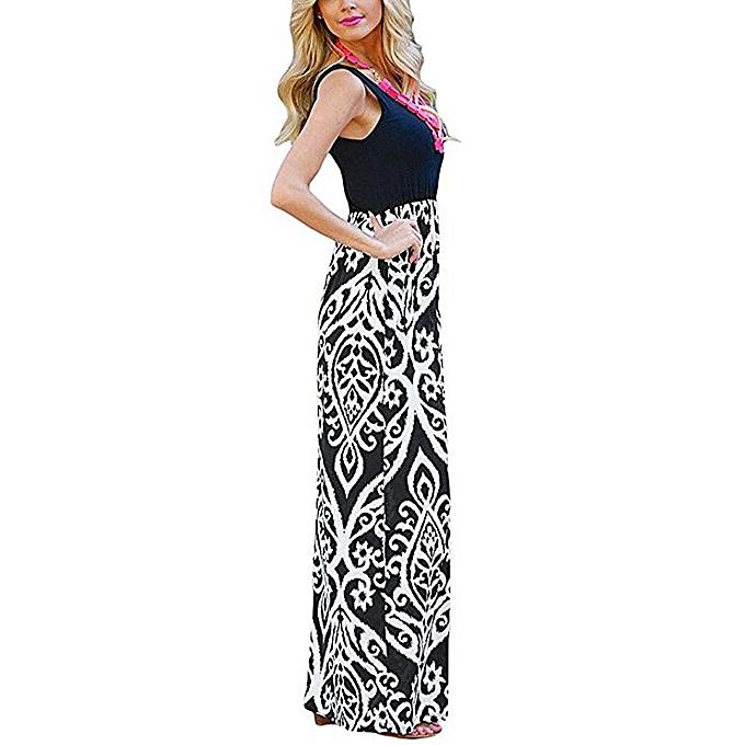 Fashion Sedectres Shop   femmes Print Tank Maxi Dress Pocket Sleeveless Casual Summer Long Maxi Dress à prix pas cher