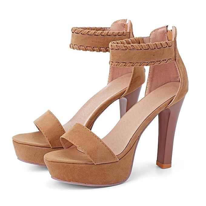 Fashion Wohommes High Heel Sandals Casual Weave Peep Toe chaussures à prix pas cher