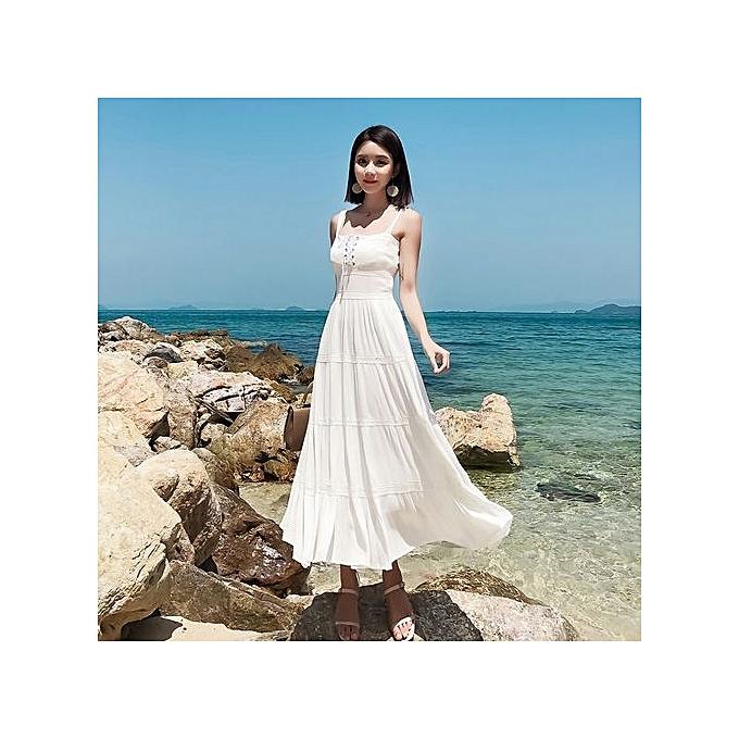 Fashion Summer Sling Wohommes Dress Fashion Lace Long Pleated Dress à prix pas cher