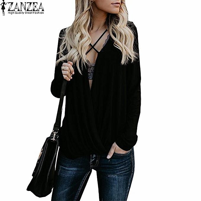 Fashion ZANZEA femmes Lace-Up V Neck Tops Long Sleeve Loose Casual Shirt Blouse Plus Taille à prix pas cher