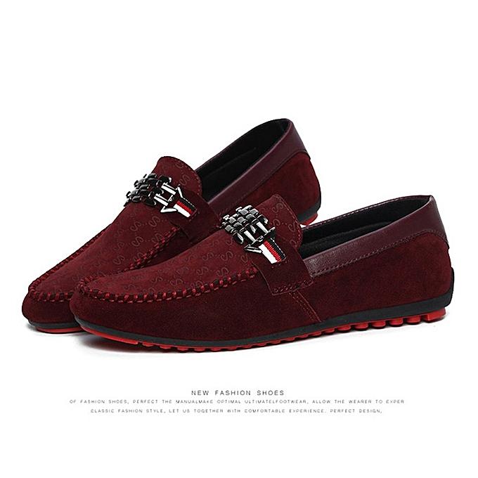 Generic TB 1 Pair Soft Leisure Moccasins Hommes Décontracté Flat Heel Moccasin Driving chaussures-rouge à prix pas cher
