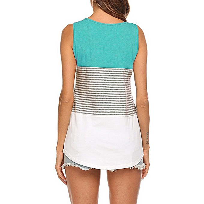 Generic Generic femme's Casual Round Neck Sleeveless Striped Summer Tank Tops Blouse A1 à prix pas cher