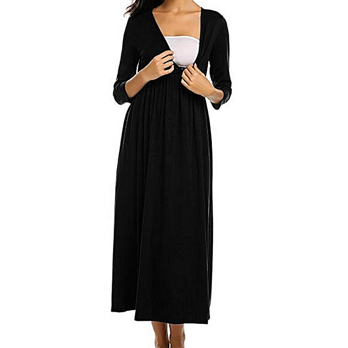 mode mode femmes Solid V-Neck Three quarter Sleeve Maternity Pregnant Robe à prix pas cher