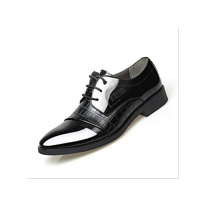 Generic Leather Lined Dress Oxfords chaussures Fashion Men's Oxford chaussures Leather Derby chaussures Lace-up Plus Taille 38-47-noir à prix pas cher