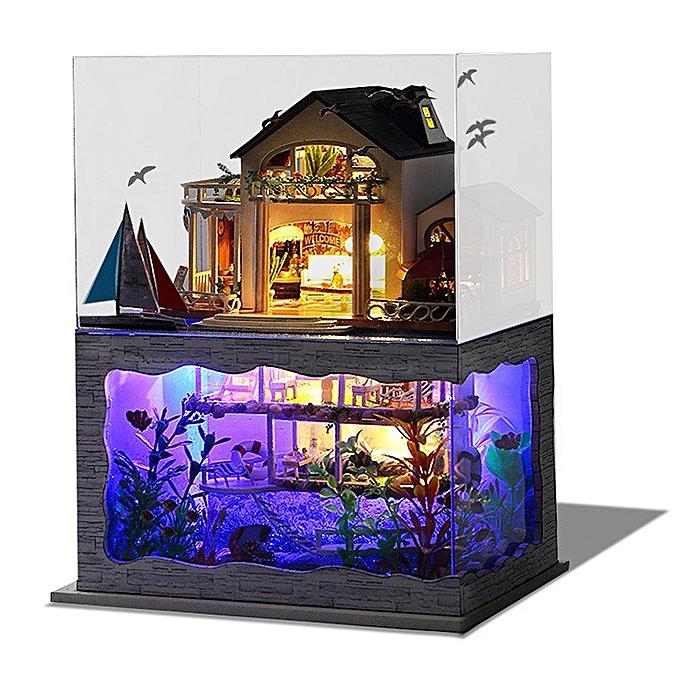Autre Kit de meubles en bois miniature en bricolage LED Hawaii Villa Loft ApartHommests Dollhouse à prix pas cher