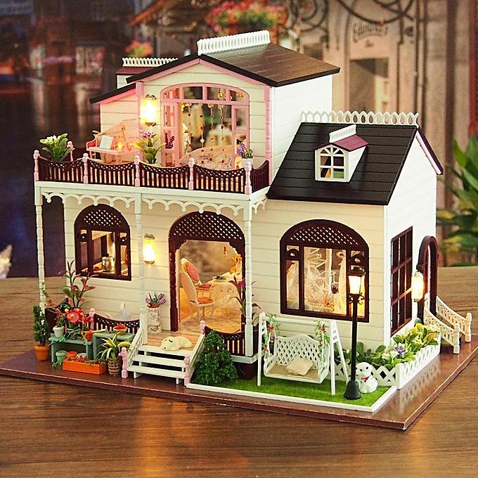 Autre Bricolage Bowness Ville Miniature En Bois Maison De Poupée Meubles Modèle LED Lumière Jouets Cadeau à prix pas cher