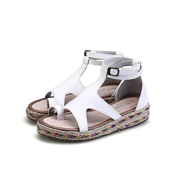 Fashion Plus Taille femmes Microfiber Buckle Strap Flip Flops Flat Sandals à prix pas cher
