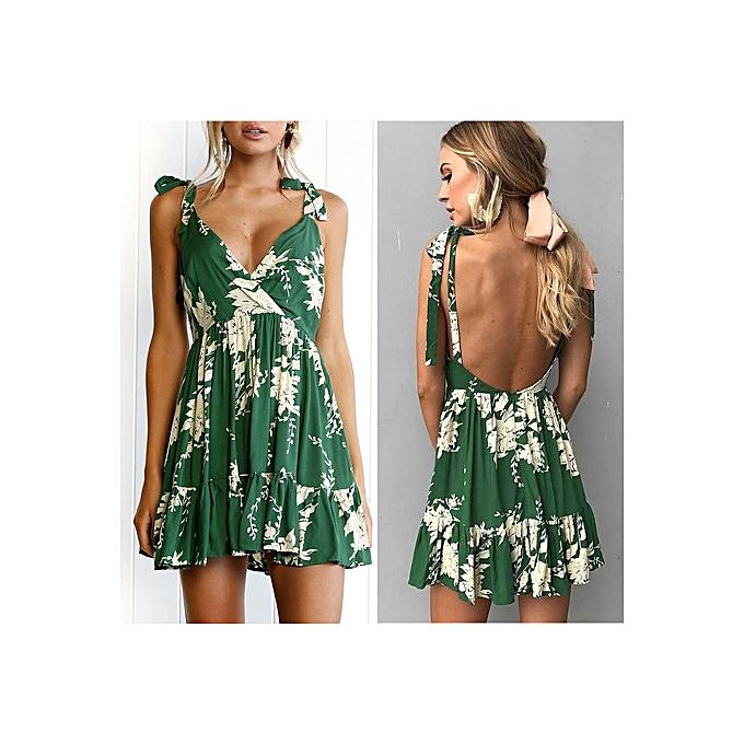 OEM nouveau style Sleeveless V-Neck Strap Bohemian Printed jupe-vert à prix pas cher