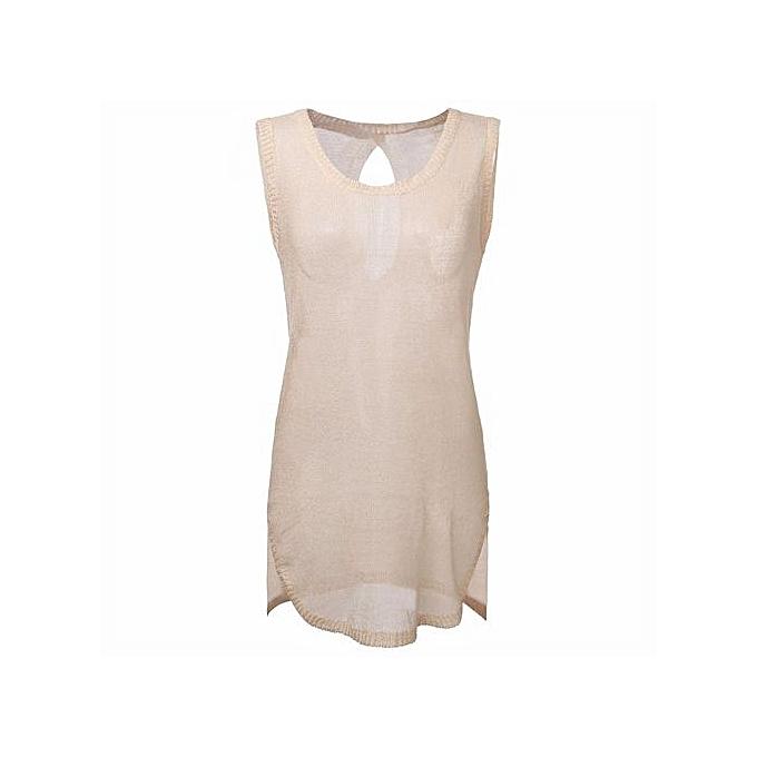 Fashion Robe De Bain Sans Manches - Beige à prix pas cher
