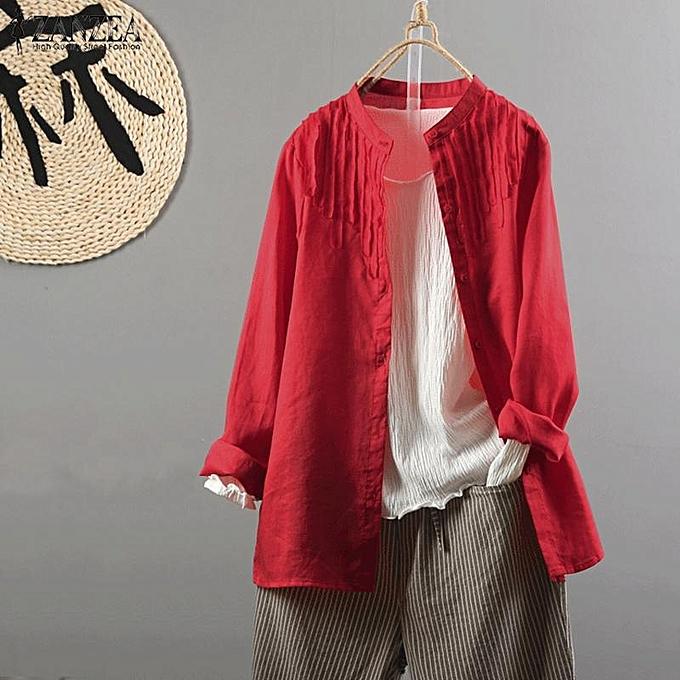 Fashion ZANZEA femmes Long Sleeve Plus Taille Top Blouse Basic Office Work OL Button Down Shirt à prix pas cher