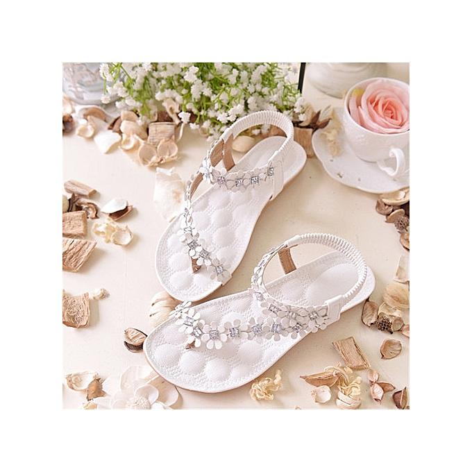 OEM Large Taille Wohommes Summer Toe Flower Flat Sandals femmes argent à prix pas cher