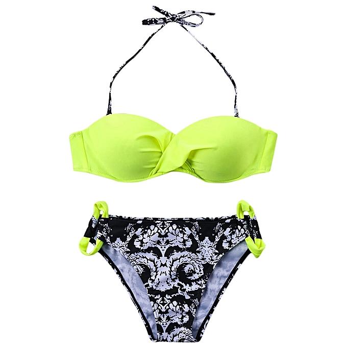 Generic HL Halter Ethnic Paisley Print Push Up Bikini (Fluorescent,jaune) (XL, M, S) à prix pas cher