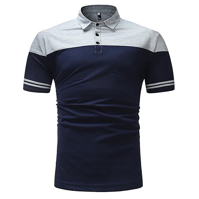 mode mode Affaires Pour des hommes Slim Fit Shirt  courte-Sleeve  chemisier Top rayé Tee à prix pas cher