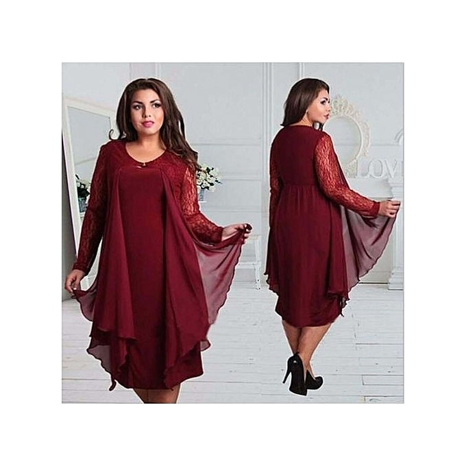 mode Plus Taille Lace Robe femmes Sexy O-Neck Half Sleeve A-line Party Gown Knee-longueur grand Taille Robe Plus Taille Lace Robees-wine rouge à prix pas cher
