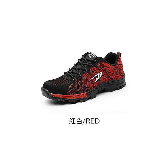 OEM Breathable safety chaussures, flying woven sports, anti-smashing and puncture safety chaussures, labor insurance chaussures-rouge à prix pas cher