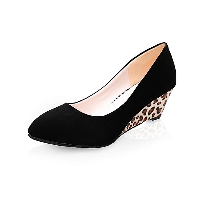Fashion 5cm  High Wedges WoHommes  5cm Fashion Leopard Casual Shoes -Black à prix pas cher  | Black Friday 2018 | Jumia Maroc 150fc8