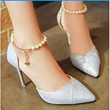 8d1f6417e Fashion أحذية عالية الجودة الزفاف أحذية عالية الكعب مساء الفضة الزفاف ، فضة