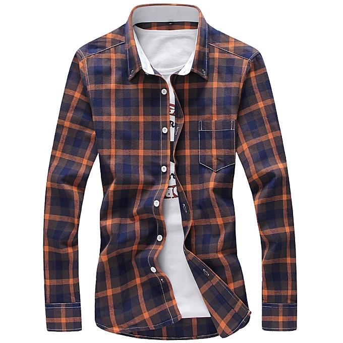 Fashion 100% Cotton Classic Plaid Casual LongS leeve Shirt Slim Soft Dress Shirts jaune à prix pas cher