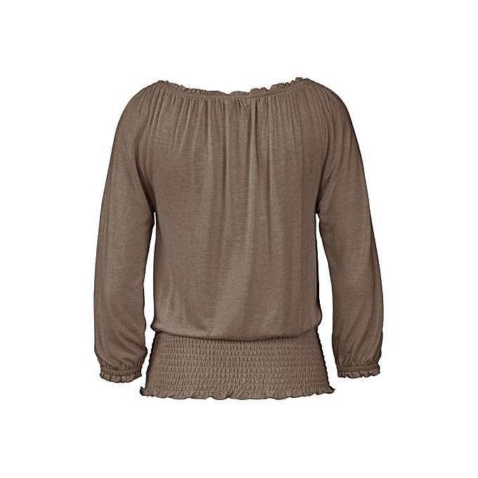 mode femmes Off Shoulder manche longue chemisier Décontracté T Shirt hauts GY M à prix pas cher