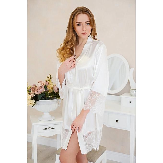 0ede61e9dea Robe de mariée de mariée kimono robe dentelle robe de mariée Womens robe  blanche satin mariage
