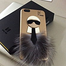 6535437aef7 Coque iPhone 7 8 en fourrure de renard fendi Karl loves (Doré)