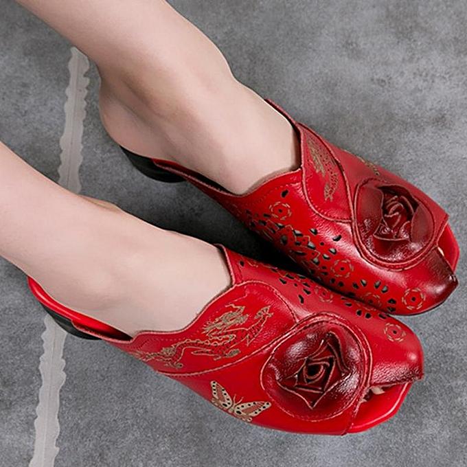Fashion SOCOFY SOCOFY Fashion Fashion WoHommes  Retro Handmade Genuine Soft Leather Slip On Square Heel Sandals-EU à prix pas cher  | Jumia Maroc f28bce