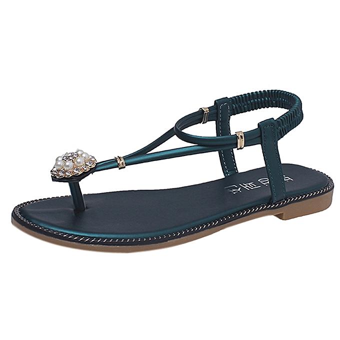 Generic Tcetoctre femmes Bohemian Pearl Sandals Summer Fashion Diamond Sandals Flat Sandals chaussures -vert à prix pas cher