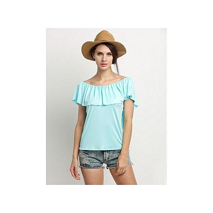Sunweb mode Ladies femmes Top Backless Ruffle Décontracté T-Shirt ( vert ) à prix pas cher
